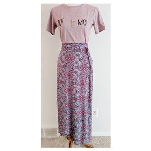 Anthropologie Gilli Printed Midi Wrap Skirt